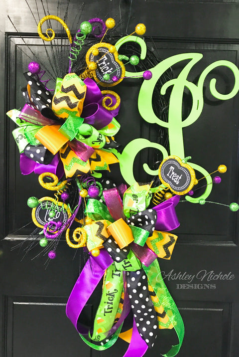 Trick-or-Treat Initial Halloween Wreath
