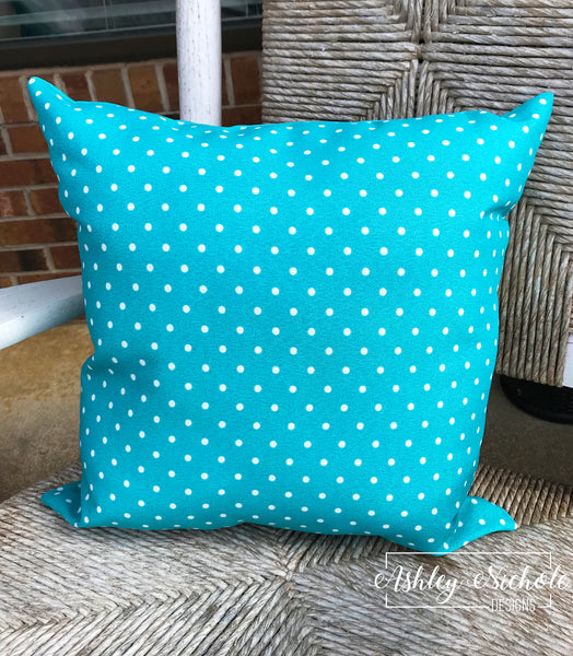 "18"" Outdoor Pillow-Turquoise with White Dots"