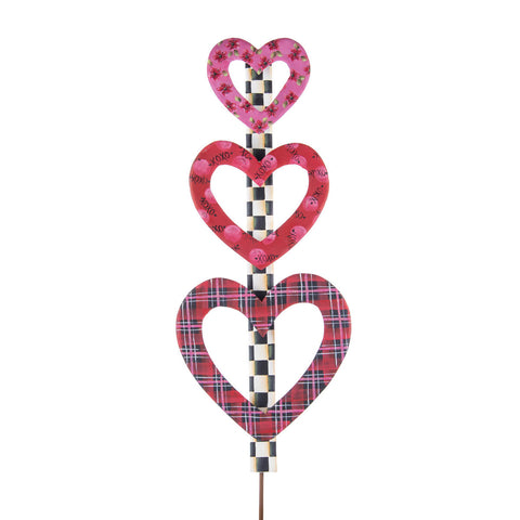 Plaid Heart Topiary - Metal Stake
