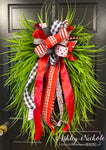 "Valentine Grass Wreath Red and Black - 24"" Oval"