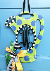 Open Watering Can (Monogram) Initial Door Hanger