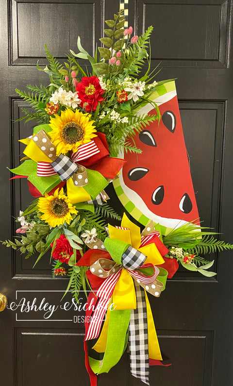Watermelon Wreath Yellow and Red