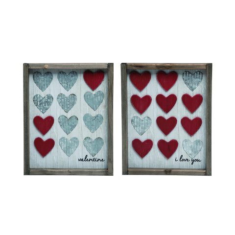 Valentione Wood Framed Heart Decor