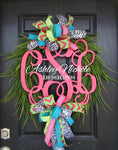 "Wooden Monogram Grass Wreath - 24"" Round"