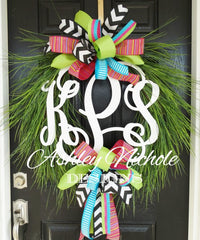 Wooden Monogram Grass Wreath