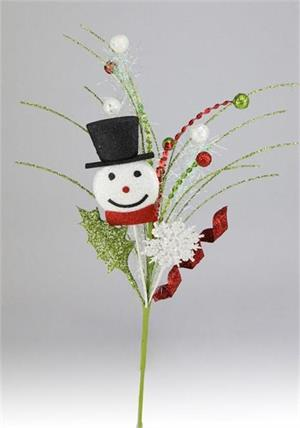 Pick - Glitter Snowman Head with Black, Red, Lime, Silver