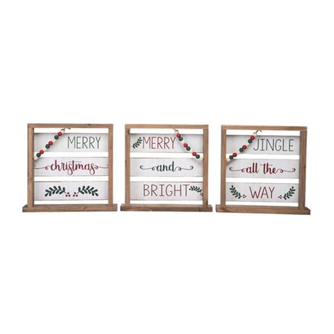 Christmas Wood Slat with Bead Decor - Choose from 3 Designs