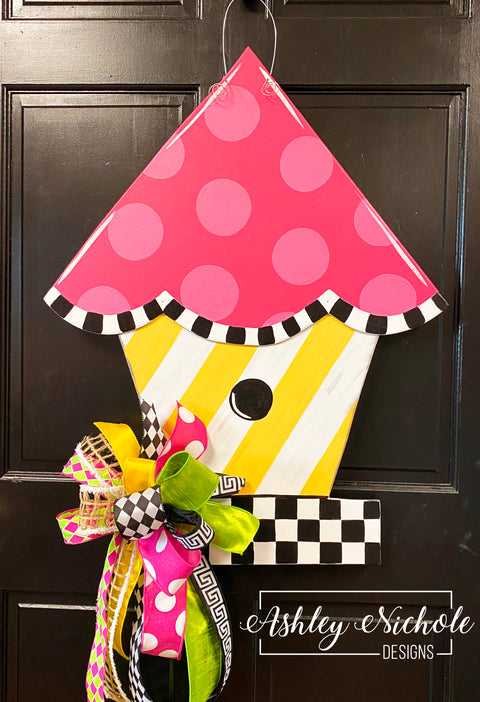 Birdhouse - Colorful - Checkered - Door Hanger