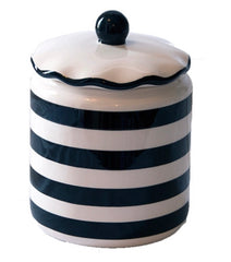 BLACK Stripe All Purpose Cup with Ruffled Lid Set