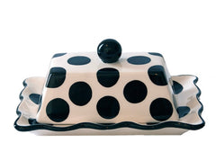 BLACK Polka Dot Butter Dish