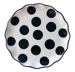 BLACK Polka Dot Large Round Plate