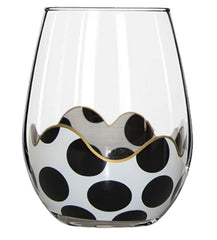 BLACK Polka Dot Wine Glass With Gold Accents