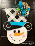 Snowman Buffalo Check Hat Door Hanger