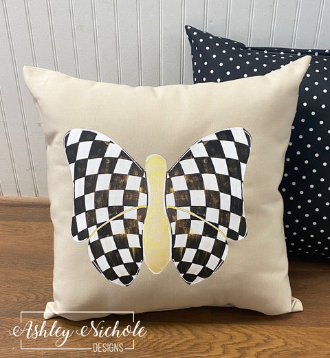 Elegant Butterfly - Checkered - Pillow - 18""