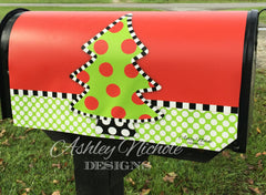 Polka Dot Christmas Tree Vinyl Mailbox Cover