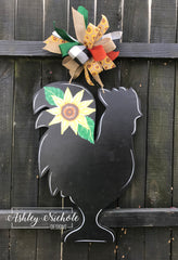 Chicken - Floral - Door Hanger