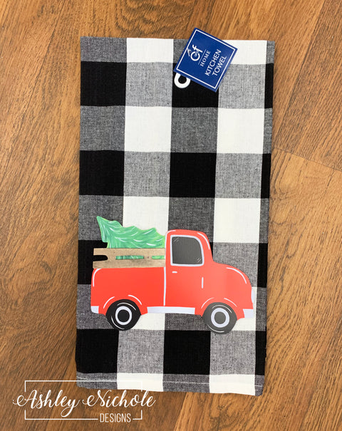 Christmas Tree Truck - Black and White Buffalo Check Dish Towel