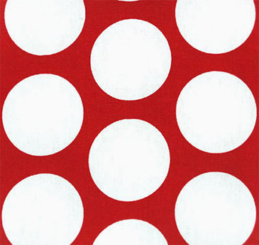 "18"" Outdoor Pillow-Large White Dots on Red"