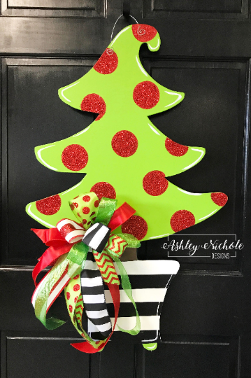 Christmas Tree - Black and White Stripe Pot & Glitter Dot-Door Hanger