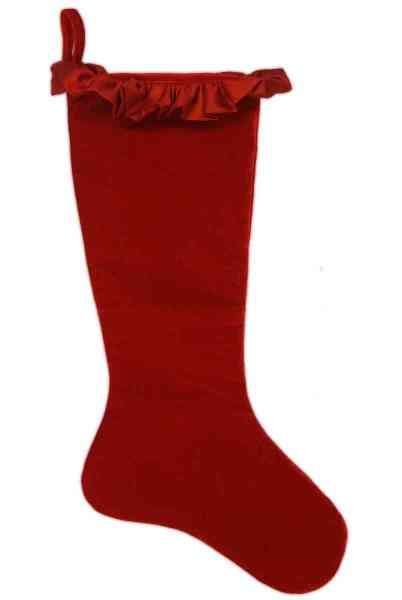 Stocking - Velvet with Taffeta Ruffle, Red