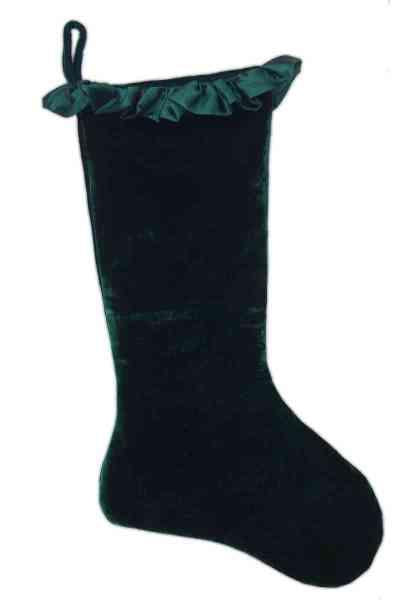Stocking - Velvet with Taffeta Ruffle, Emerald Green