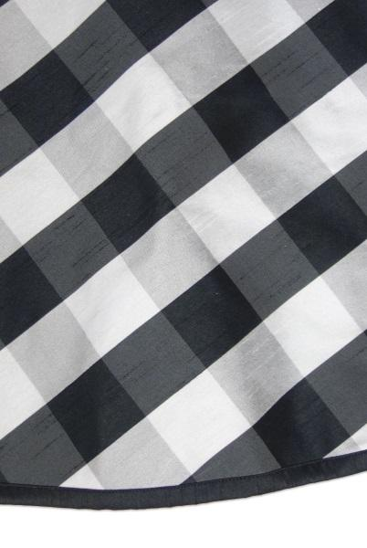 Black and White Faux Dupion Buffalo Check Tree Skirt - 64""