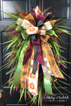 "Fall Grass Wreath with Burgundy-24"" Oval"