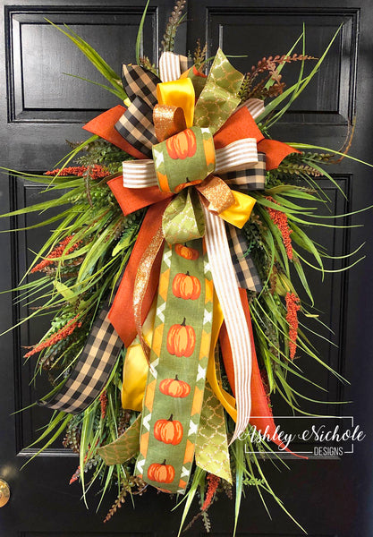 "Fall Grass Wreath with Orange-24"" Oval"