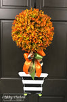 Fall COLORED Topiary - Single Ball  Stripe - Door Hanger