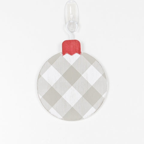 "Buffalo Check Gray and White 5"" x 5"" Wood Ornament"