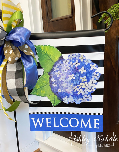 Hydrangea Flower - Welcome - Garden Vinyl Flag