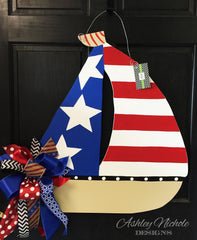 Patriotic Sailboat Door Hanger