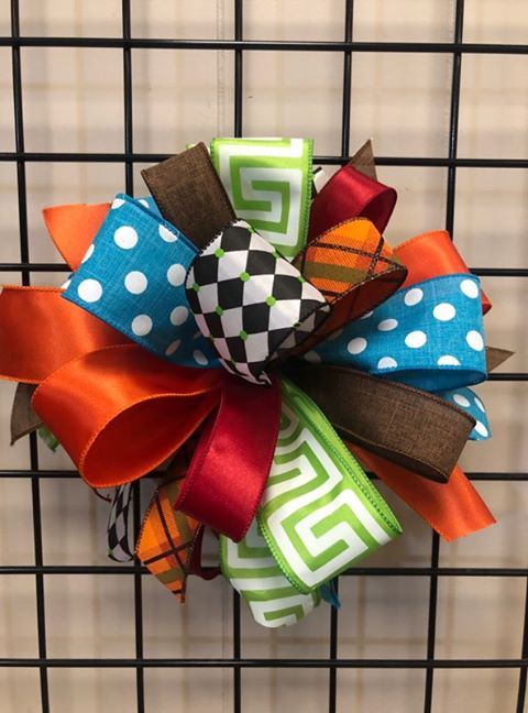 Fall Colorful Bow-Large Puff