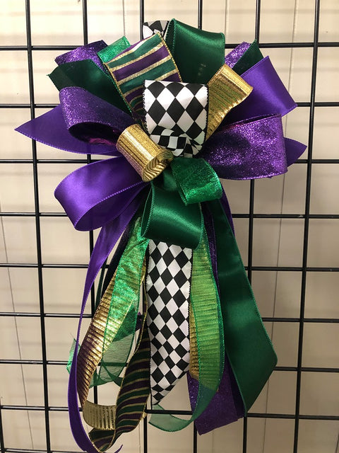Mardi Gras Bow-Large Streamer