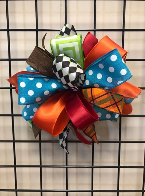 Fall Colorful Bow-Medium Puff