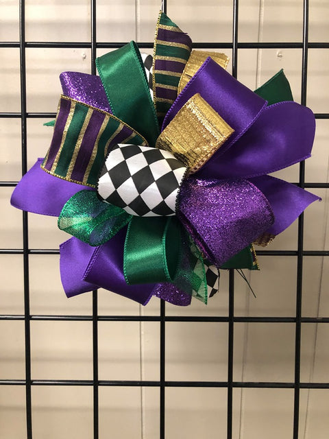 Mardi Gras Bow-Medium Puff