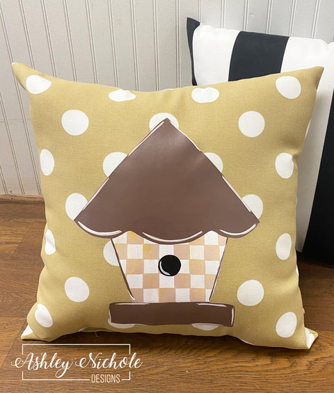 "18"" Birdhouse - Neutral - Checkered - Vinyl Design on Outdoor Fabric"