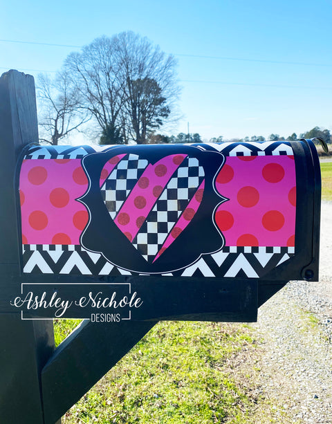 Patchwork Heart Valentine Mailbox Cover