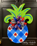 Pineapple - Medium - Patriotic - Door Hanger