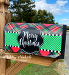 Plaid Red & Green Merry Christmas Vinyl Mailbox Cover