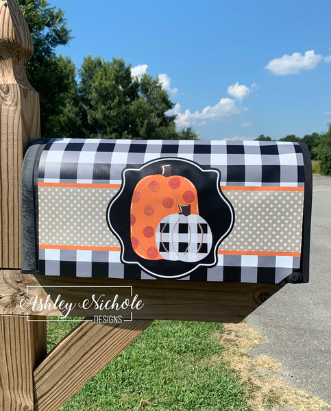 Pumpkins Orange and Buffalo Check Magnetic Mailbox Cover