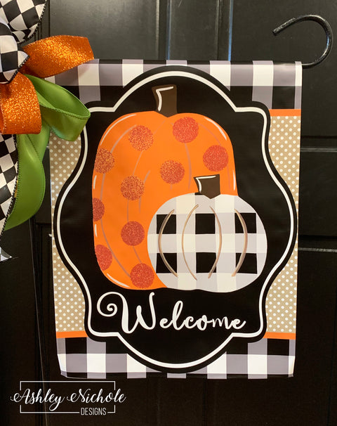 Pumpkins Orange and Buffalo Check Vinyl Garden Flag