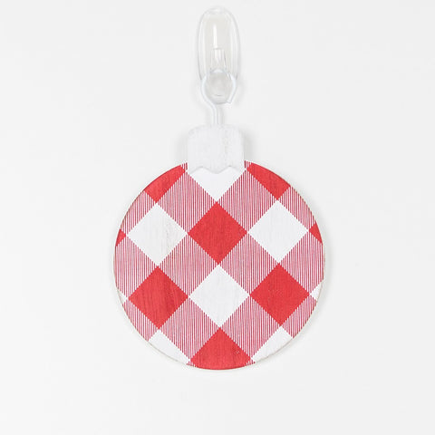 "Buffalo Check Red and White 5"" x 5"" Wood Ornament"