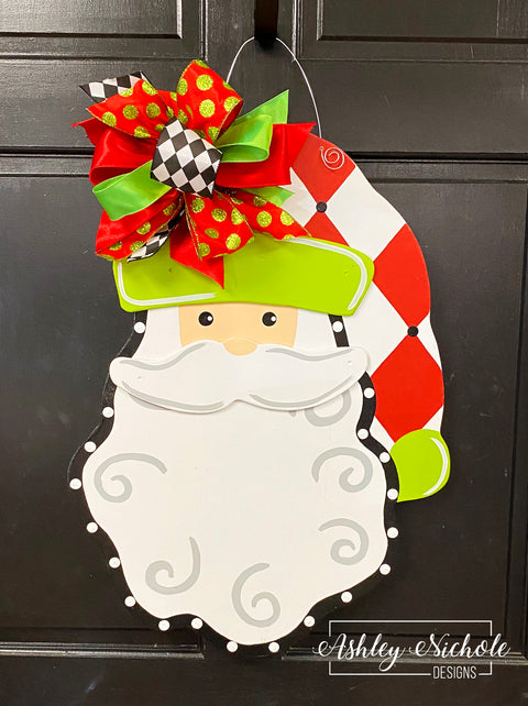 Santa-Red Diamonds Door Hanger