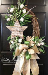 Winter Cotton and Star Wreath