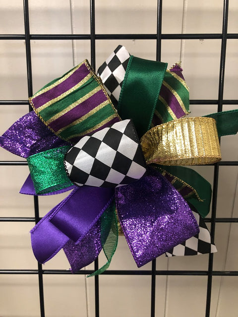Mardi Gras Bow-Small Puff
