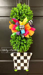 Spring Topiary - Double Ball Checkered - with Gold Overlay