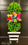 Spring Topiary - Double Ball Striped - Door Hanger