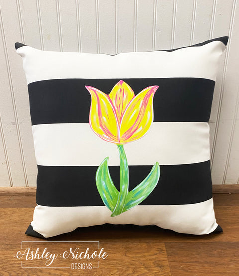 "18"" Custom-Tulip Flower Vinyl Design on Striped Outdoor Fabric"