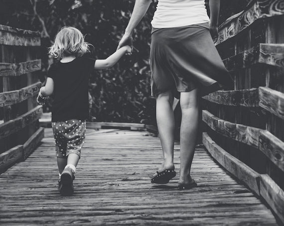 Mother and child, walking